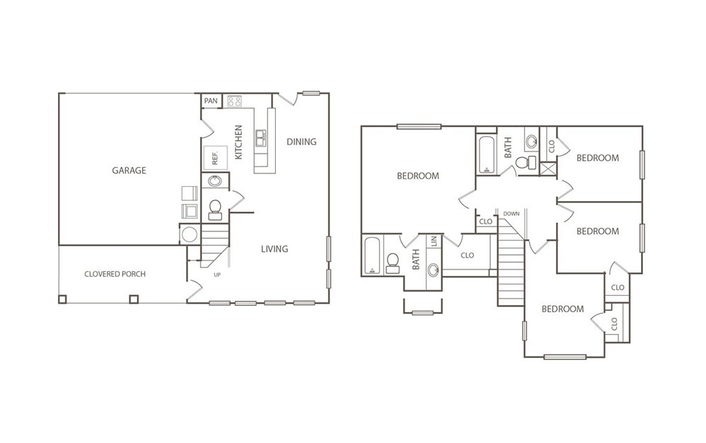 The Egret - 4 bedroom floorplan layout with 2.5 bath and 1429 square feet (1st floor 2D)