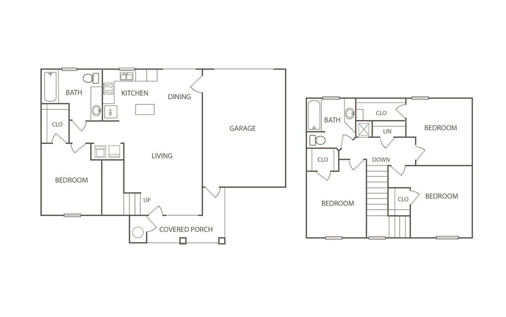 The Swan - 4 bedroom floorplan layout with 2 bath and 1445 square feet (1st floor 2D)