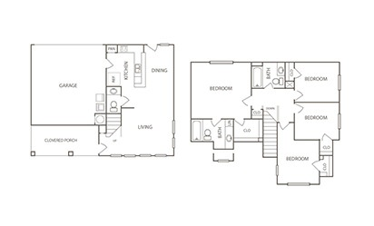 The Egret - 4 bedroom floorplan layout with 2.5 bath and 1429 square feet
