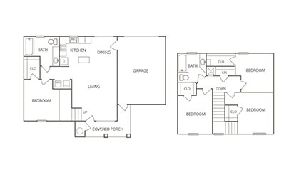 The Swan - 4 bedroom floorplan layout with 2 bath and 1445 square feet